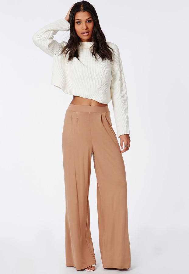 Missguided Jersey Wide Leg Pants Camel