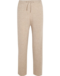 Pepita cashmere and silk blend track pants beige medium 5083814