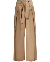 Sea Tie Front Wide Leg Cotton Trousers