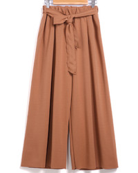 With Belt Wide Leg Camel Pant