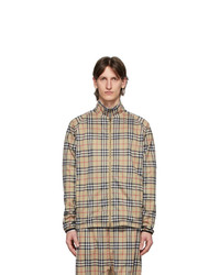 Burberry Beige Vintage Check Technical Twill Zip Up Jacket