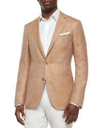 Herringbone two button wool jacket tan medium 344606