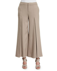 Ralph Lauren Collection Beatriz Wide Leg Cropped Pants Taupe