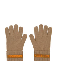 Burberry Beige Cashmere Logo And Kingdom Gloves