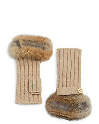 Adrienne Landau Fur Trimmed Fingerless Gloves