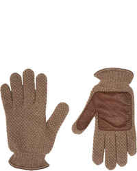 Barneys New York Leather Trim Knit Gloves