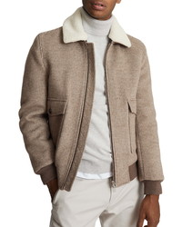 Reiss Pepe Check Wool Blend Coat With Detachable Faux Shearling Collar