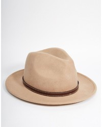 Asos Brand Fedora Hat In Stone Felt With Faux Leather Band