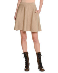 Tan Wool Mini Skirt