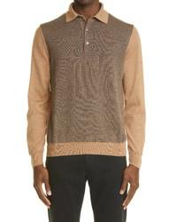 Canali Pattern Block Long Sleeve Wool Blend Polo