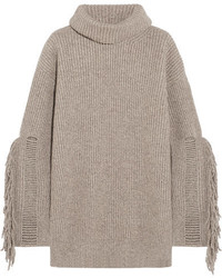 Fringed ribbed cashmere and wool blend turtleneck sweater sand medium 5173142