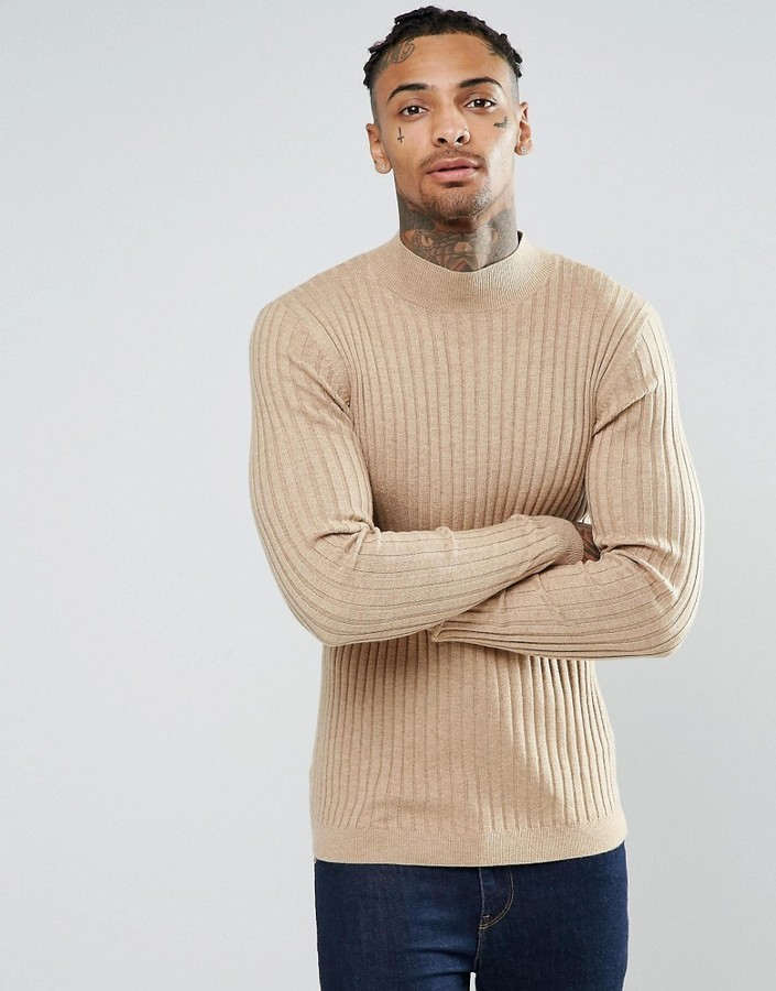 775bb3e7b4bff ... Asos Muscle Fit Ribbed Turtleneck Sweater In Merino Wool Mix ...