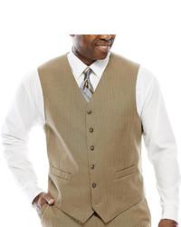 Stafford Stafford Travel Tan Herringbone Suit Vest Big Tall