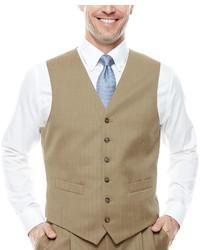 Stafford Stafford Travel Tan Herringbone Suit Vest Classic Fit