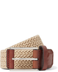 Michael Kors Michl Kors 4cm Beige Leather Trimmed Woven Elasticated Belt