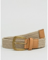 Asos Slim Woven Belt In Beige