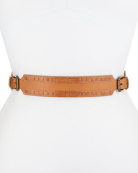 Woven leather belt wbows tan medium 695054