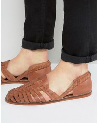 Asos Woven Sandals In Tan Leather
