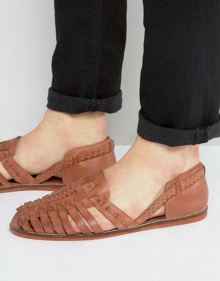 2a820fcef376 ... Asos Woven Sandals In Tan Leather ...