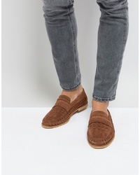 Tan Woven Suede Loafers
