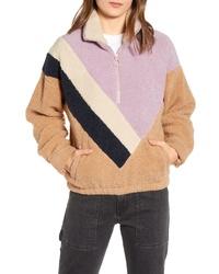 J.o.a. Colorblock Faux Shearling Quarter Zip Jacket