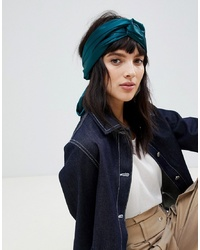 ASOS DESIGN Twist Block Headscarf In Emerald Green