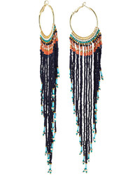 Nakamol Long Beaded Fringe Drop Earrings Navy