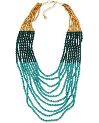 Nakamol Turquoise Hue Multi Strand Beaded Necklace