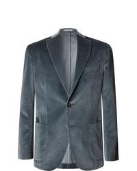 Boglioli Blue K Jacket Slim Fit Unstructured Cotton Blend Velvet Blazer