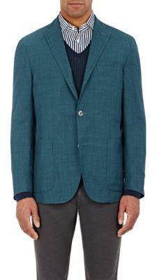 Boglioli Micro Checked Windowpane Sportcoat Blue Turquoise Size 42