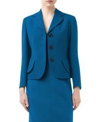 Akris Lausanne Crop Double Face Virgin Wool Jacket