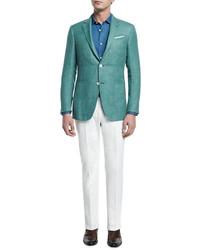 Solid half lined blazer green medium 588948