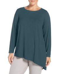 Eileen Fisher Plus Size Asymmetrical Lightweight Jersey Crewneck Top