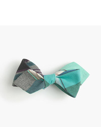 J.Crew Cotton Bow Tie In Teal Madras