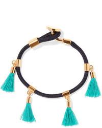 Chloé Gold Tone And Tasseled Cotton Bracelet Turquoise