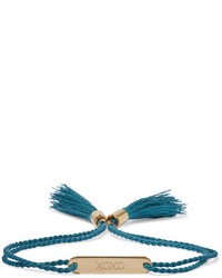 Chloé Messages Gold Tone Cotton Bracelet Petrol