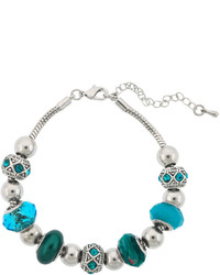 Sparkle Allure Dazzling Designs Silver Plated Teal Artisan Glass Bead Bracelet