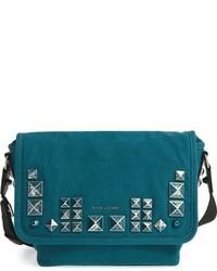 Marc Jacobs Small Studs Canvas Messenger Bag Bluegreen