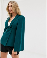 Lavish Alice Cape Blazer In Forest Green