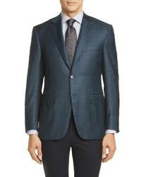 Canali Sienna Soft Classic Fit Windowpane Wool Sport Coat