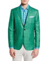 Kiton Windowpane Cashmere Silk Three Button Sport Coat Green