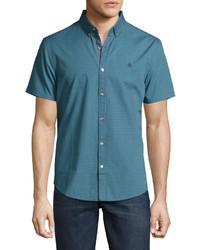 Original Penguin Check Print Button Front Short Sleeve Shirt Blue