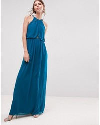 Turquoise chiffon lace insert maxi dress medium 3718014