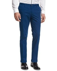BOSS Slim Straight Flat Front Trousers Bright Teal