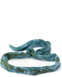 Dannijo Iris Tie Dyed Voile Oxidized Silver Plated And Swarovski Crystal Choker Green