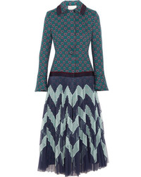 Mary Katrantzou Oliver Jacquard And Pliss Tulle Coat Blue