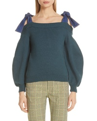 Adeam Denim Tie Off The Shoulder Sweater
