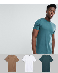 ASOS DESIGN Longline T Shirt With Crew Neck 3 Pack Save