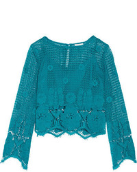 Miguelina Alicia Cropped Crocheted Cotton Top Turquoise
