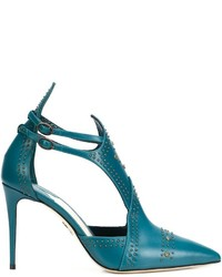 Teal Cutout Leather Pumps